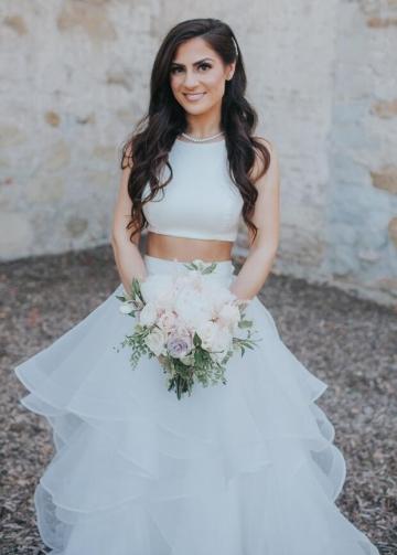 Sleeveless Two Piece Wedding Dress with Ruffles Skirt