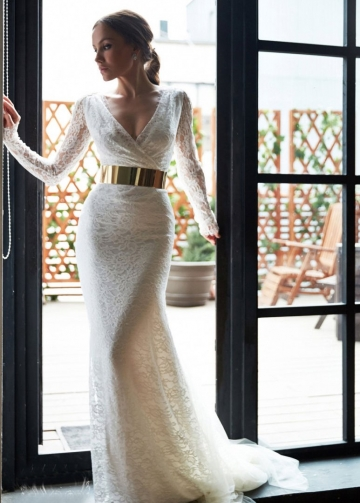 Sheer Long Sleeveless Lace Bridal Gowns with Gold Belt