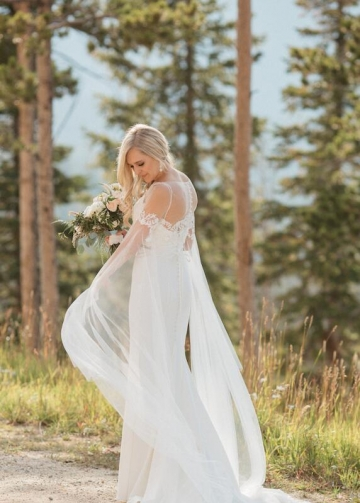 Spaghetti Straps Destination Wedding Gown with Detachable Long Shawl