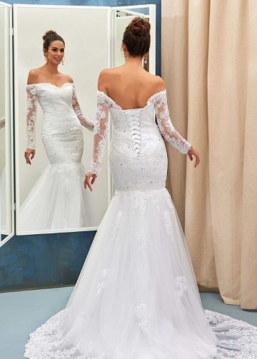 Sheer Long Sleeves Lace Wedding Gown Mermaid