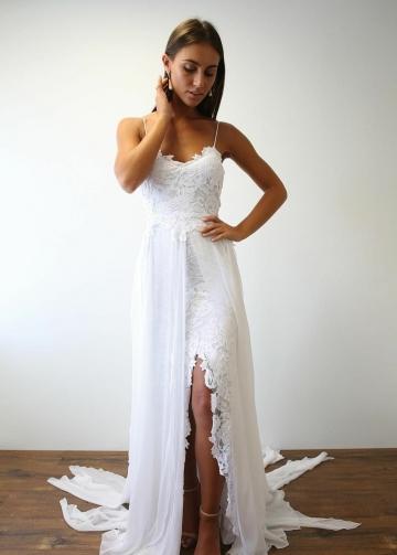 Spaghetti Straps White Lace Wedding Dresses for Beach