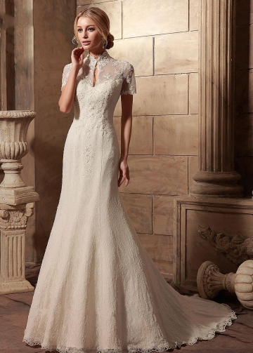 Sheer Short Sleeves Lace Vintage Wedding Gowns Dress with High Neck