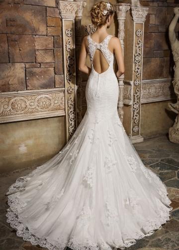 Sleeveless Appliques Lace Wedding Gowns Mermaid vestido de boda