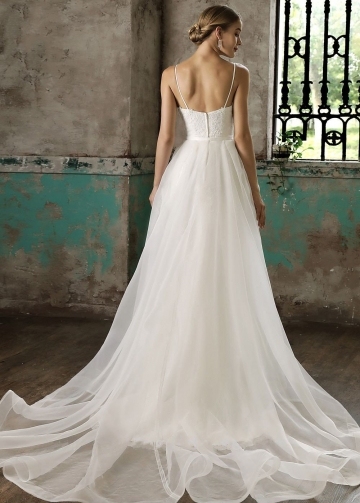 Spaghetti Straps Column Bride Lace Wedding Gown with Detachable Skirt