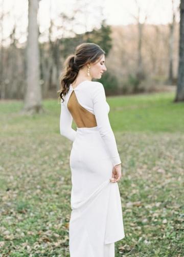 Slim Satin Countryside Wedding Dresses Long Sleeves