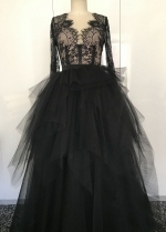 Sheer Lace Long Sleeves Black Wedding Dress with Plunging V-neck