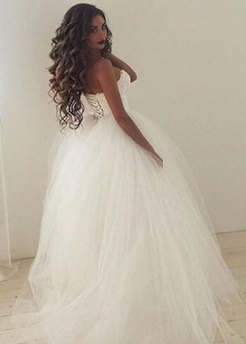 Sweetheart Lace Corset Tulle Skirt Wedding Dresses Ivory