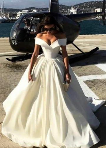 Satin Wedding Ball Gown Dresses with Off-the-shoulder vestido de novia