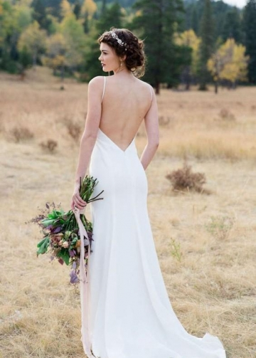 Simple Open Back Outside Wedding Dresses Spaghetti Straps