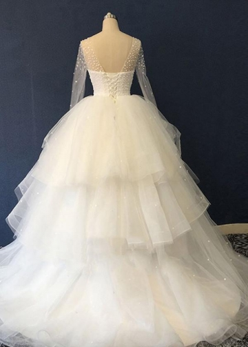See-through Pearls Neckline Long Sleeves Ball Gown Wedding Dress