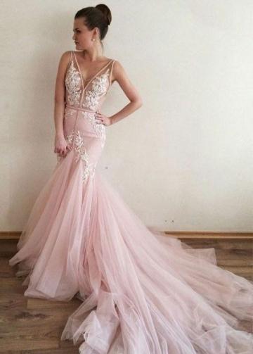 Sheer V-neckline Pink Mermaid Wedding Dress with Tulle Train