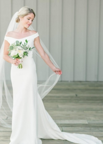 Simple Off-the-shoulder Wedding Dress with Slight Train