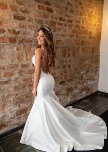 Simple Satin Mermaid Wedding Gown Vestido de casamento
