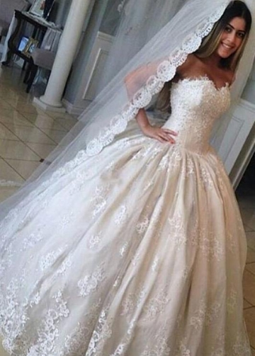 Strapless Lace Ball Gown Wedding Dresses with Corset Back