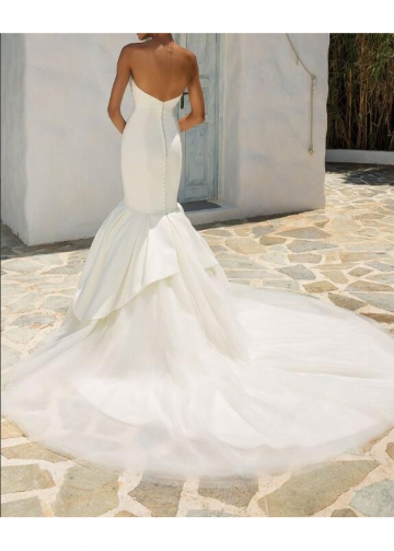 Sleek Satin Mermaid Wedding Dress with Jewelry Belt