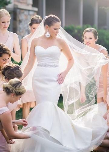 Sleek Satin Mermaid Wedding Dress with Jewelry Belt
