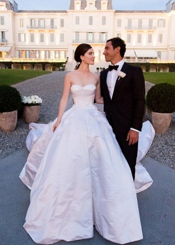 Satin Strapless Spring Wedding Dress with Long Train