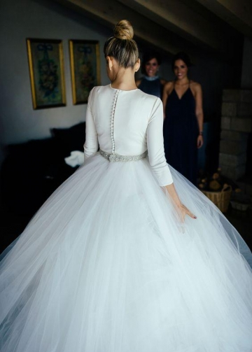 Spandex 3/4 Sleeves Ball Gown Wedding Dresses with Rhinestones Belt