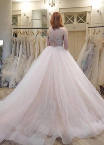 Spaghetti Straps Tulle Wedding Gowns Dress with Rhinestones Band