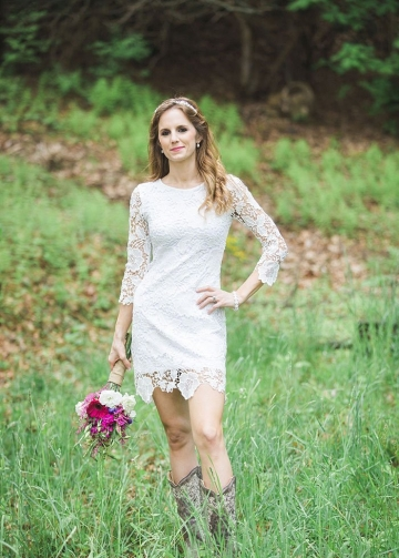 Short Lace Country Wedding Dresses for Women Wear Boots