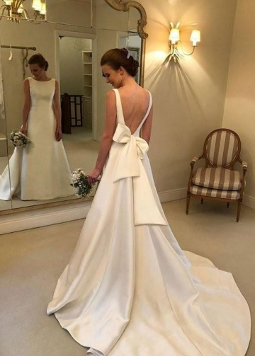 Structured Satin Wedding Dresses with Bow Ribbon Sash Back