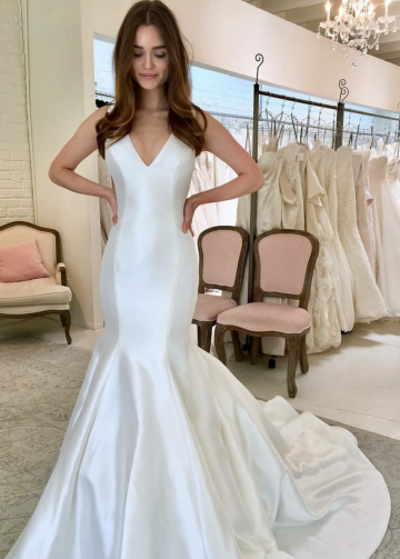 Simple Mermaid Satin Wedding Gown with V-neckline