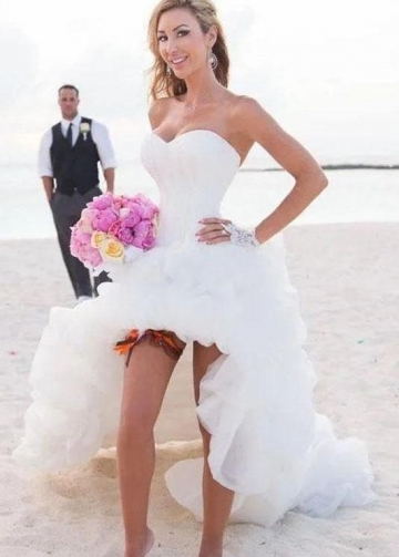 Strapless High Low Bridal Dresses for Beach Weddings