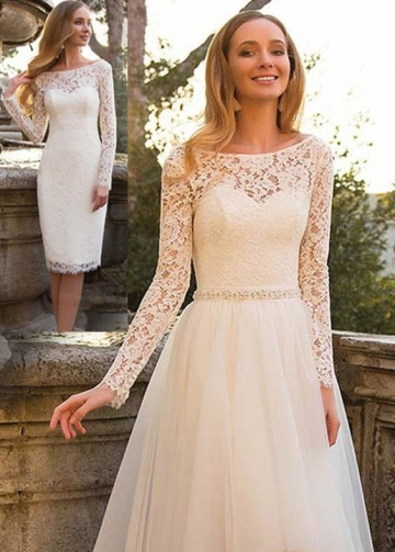 Short Lace Wedding Dresses with Detachable Tulle Skirt