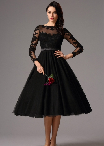 Sheer Boat Neck Lace Tulle Black Short Prom Dresses with Sleeves