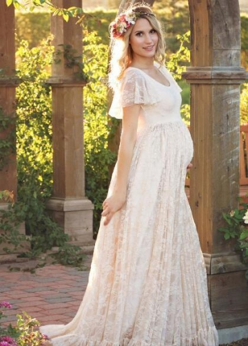 Scoop Neck Lace Pregnant Women Dress with Short Sleeves