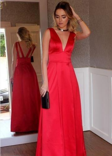 Sleeveless Satin V-neck Red Long Simple Prom Dresses
