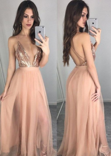 Sexy Plunging V-neck Sequin Blush Prom Night Gown