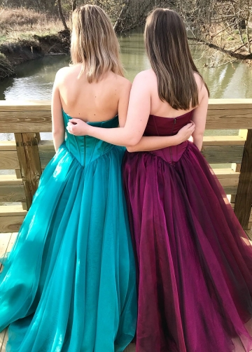 Sweetheart Satin Backless Prom Ball Gown Dresses with Tulle Skirt