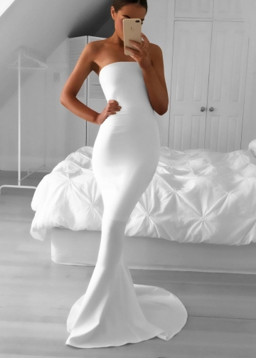 Strapless Mermaid Simple White Prom Dress with Sweep Train
