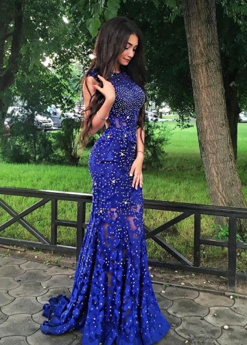 Sleeveless Beaded Royal Blue Lace Prom Dresses with Hollow Back
