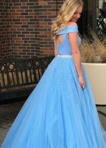 Sky Blue Tulle Two-piece Prom Gown with Pearls Skirt