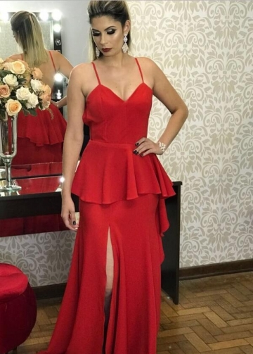 Spaghetti Straps Maxi Long Red Prom Gowns with Peplum