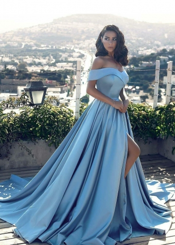 Slit Side Blue Satin Prom Gown with Fold Off-the-shoulder