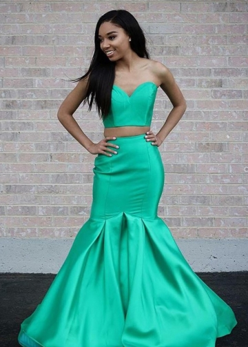 Sweetheart Top Satin Mermaid Two-piece Prom Dresses