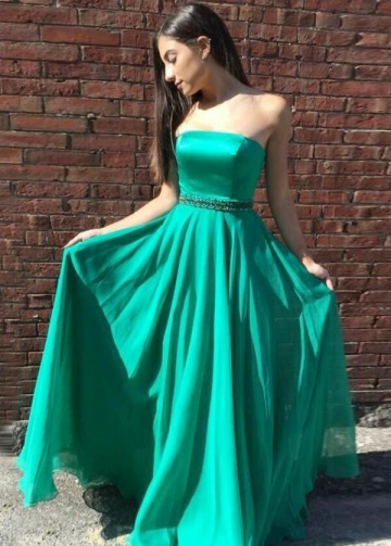 Strapless Floor Length Chiffon Green Prom Long Dresses with Bead Belt