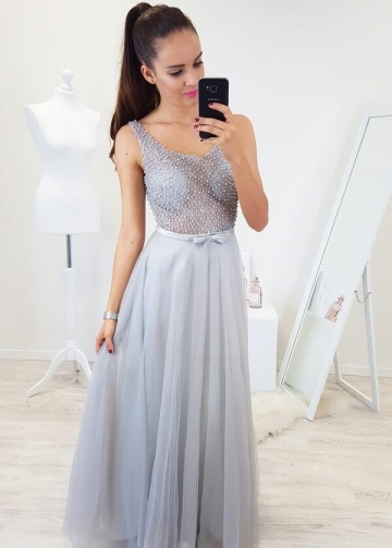 See-through Beaded Light Gray Prom Gowns with Bow Belt