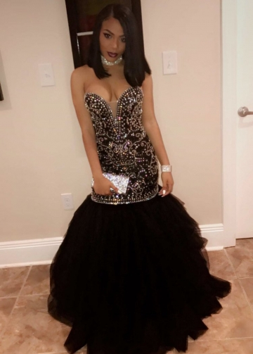 Sweetheart Black Mermaid Prom Dresses with Rhinestones Bodice