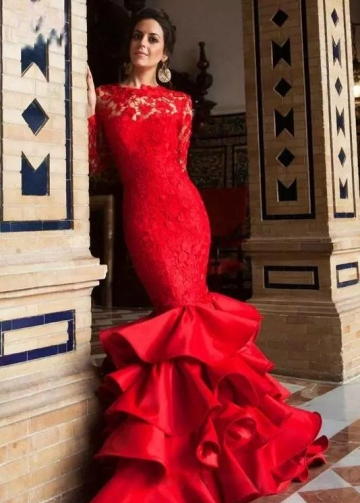 Red Lace Long Sleeves Mermaid Evening Gown with Ruffles Skirt