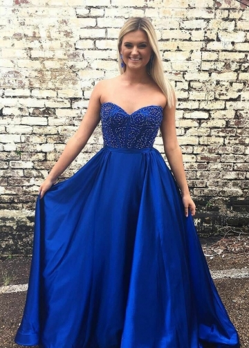 Sweetheart Royal Blue Satin Prom Gowns with Beaded Bodice vestido de fiesta