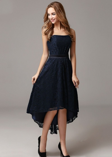 Strapless Lace Dark Navy High Low Prom Gown Dress Backless