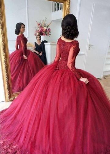 Scoop Neck Lace Tulle Red Ball Gowns Long Sleeved Evening Dresses