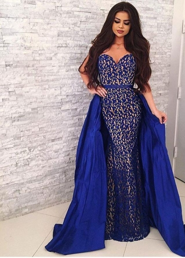 Sweetheart Sapphire Blue Lace Prom Dresses with Satin Skirt