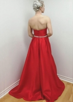 Sweetheart Satin Red Long Prom Dresses with Beaded Belt 2020