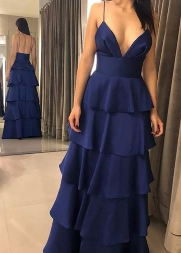 Spaghetti Straps Navy Blue Long Prom Dresses with Tiered Skirt