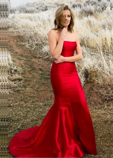 Strapless Satin Backless Red Prom Dresses Mermaid Style
